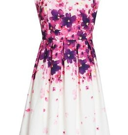 Smashed Lemon Smashed Lemon 18201-01 White Dress with Purple/Pink Flowers
