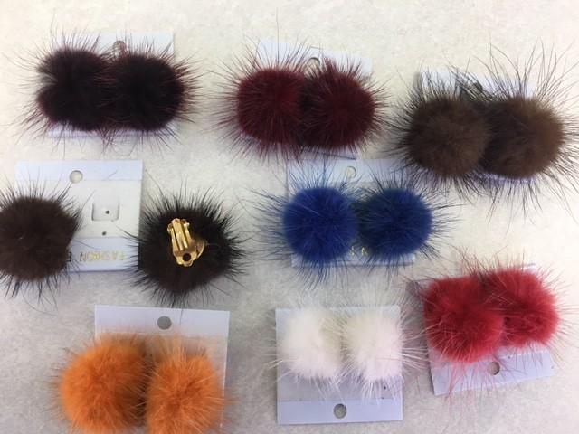 CA Fur Earrings Clip On