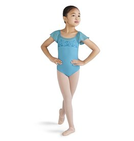 Bloch Mirella M1507C Embroidered Mesh Flutter Sleeve Leotard/Bodysuit