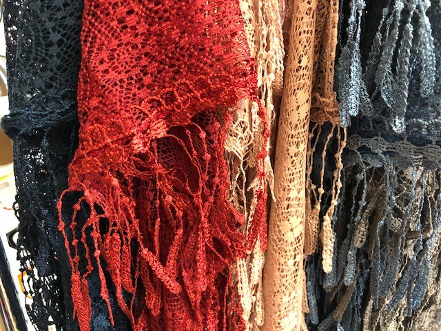 CA Lace with Pinhead Fringe Scarves