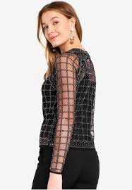 Angel Eye Angeleye Cosmic Net Top with Silver Sparkle