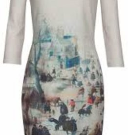 Smashed Lemon Smashed Lemon 18814-015-998 Winter Scene Dress With Sleeves