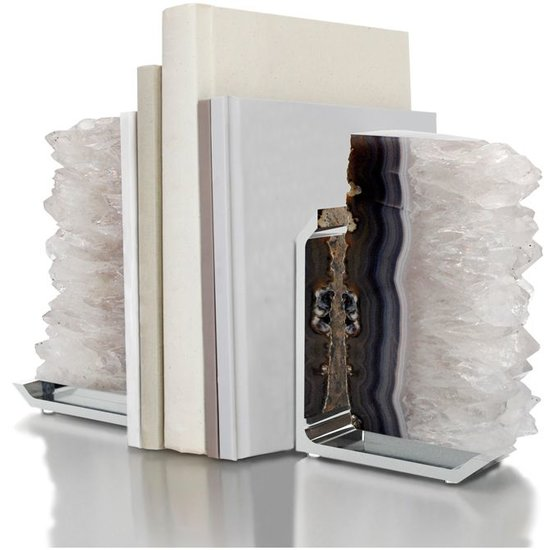 CH FIM AGATE BOOKENDS WITH SILVER BASE| NATURAL DRUZE