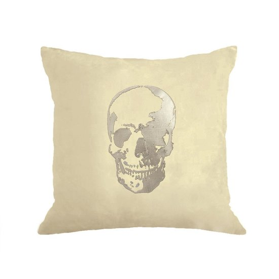 CH SKULL PILLOW | SILVER & CREAM