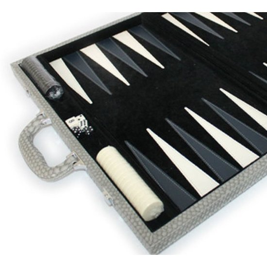CH BACKGAMMON SET | DARK GREY CROC