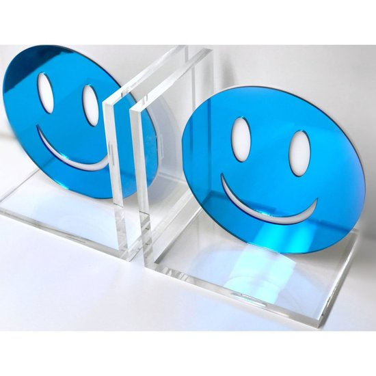 CH BOOKENDS | BLUE SMILEY FACE