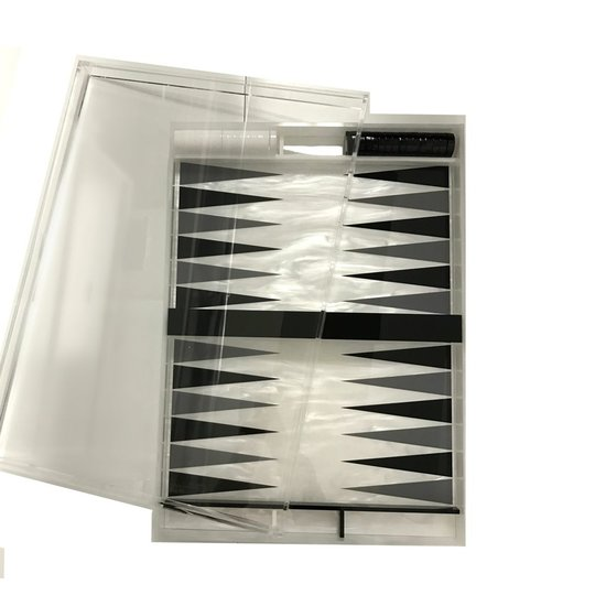CH LUCITE BACKGAMMON SET | WHITE MARBLE