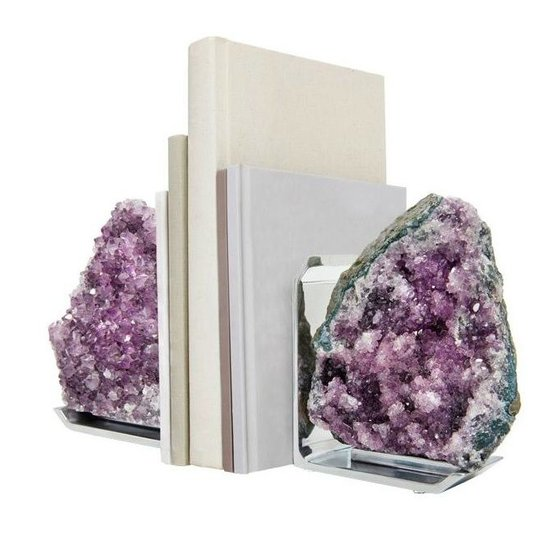 CH FIM BOOKENDS ON SILVER BASE | AMETHYST