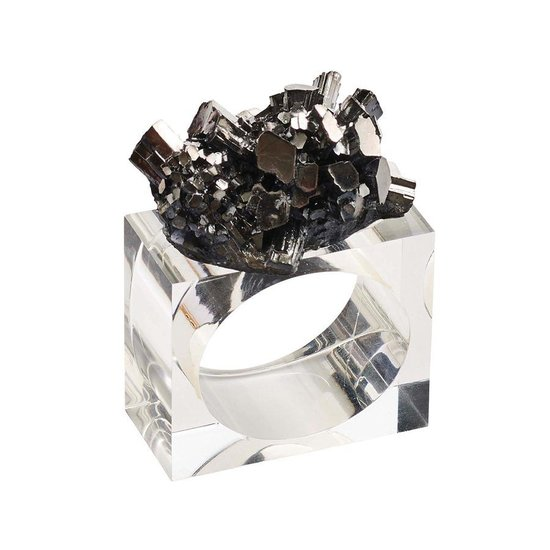 GEODE NAPKIN RING SET | GUNMETAL