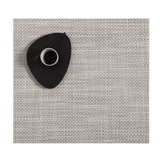 BASKETWEAVE SQUARE PLACEMAT | WHITE & SILVER