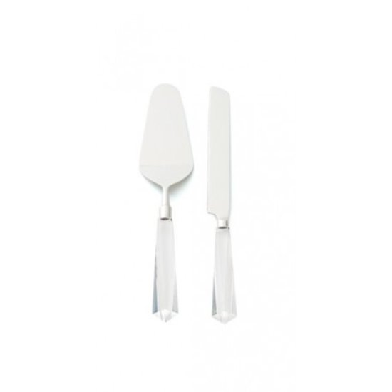 ACRYLIC FACETED CAKE SERVER SET