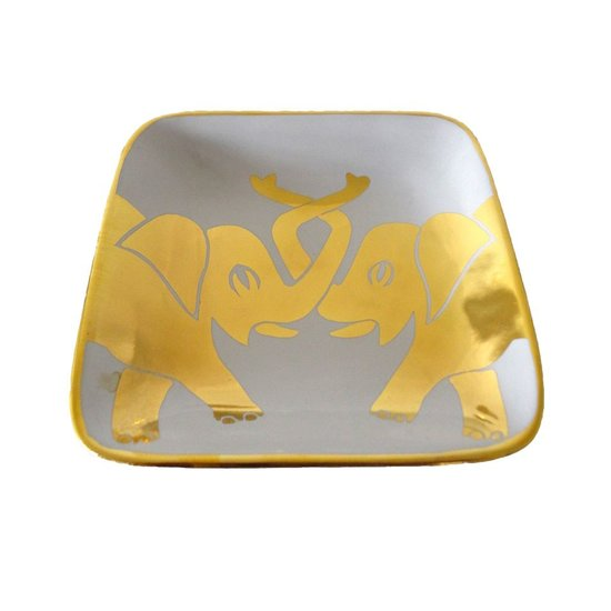 ELEPHANT TRINKET TRAY | WHITE & GOLD