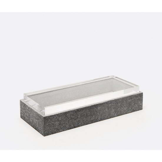 JASEN RECTANGULAR SHAGREEN BOX | COOL GREY