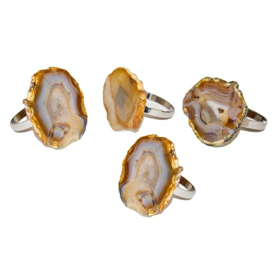 AGATE NAPKIN RING SET | NATURAL