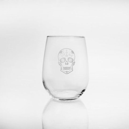 ACRYLIC SUGAR SKULL STEMLESS WINE GLASS
