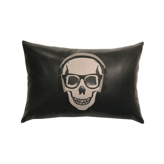 SKULL LEATHER PILLOW | CHARCOAL