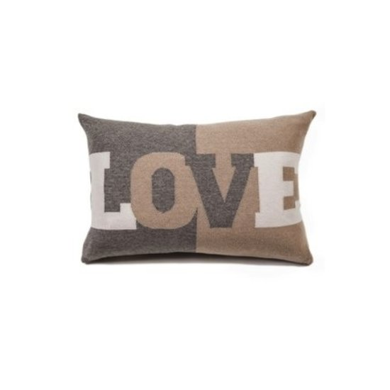 CASHMERE LOVE PILLOW | BEIGE & GREY