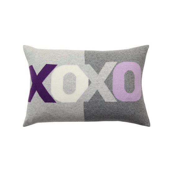CASHMERE XOXO PILLOW | PURPLE & GREY