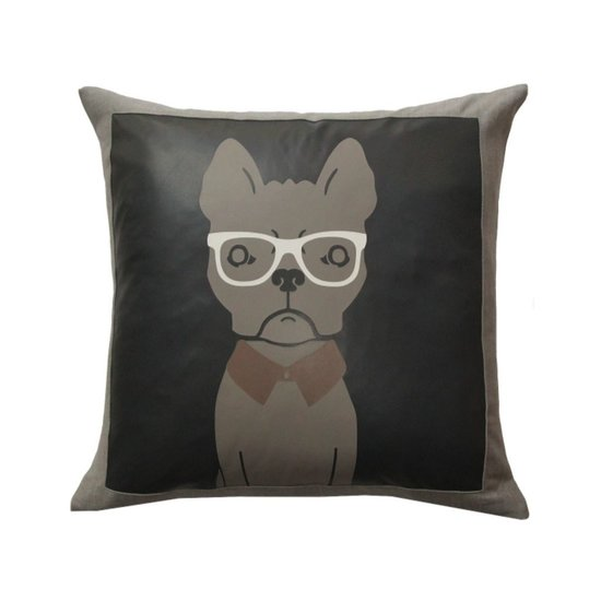 LEATHER FRENCH BULL PILLOW   CHARCOAL