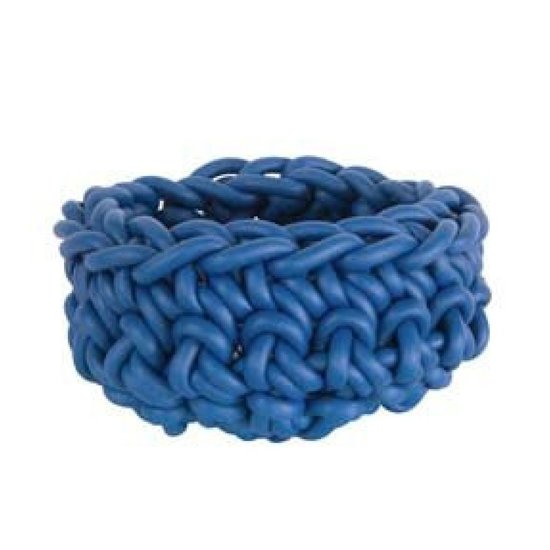 "CROCHET RUBBER BOWL | 9"" BLUE"