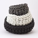 "CROCHET RUBBER BOWL | 14"" LIGHT GREY & PEARL"