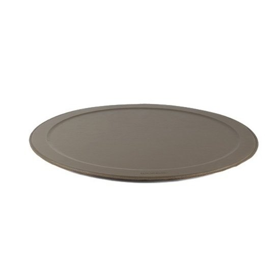 XL LEATHER ROUND SERVING TRAY | NEW GREY
