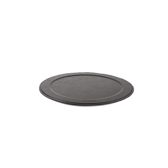 LEATHER ROUND SERVING TRAY | BRONZE