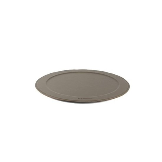 LEATHER ROUND SERVING TRAY | NEW GREY