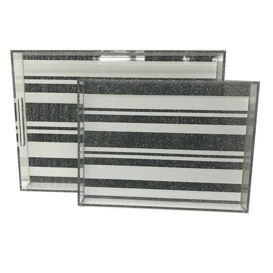 DOWNTOWN TRAY | SILVER GLITTER STRIPES