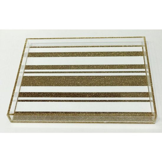 DOWNTOWN TRAY | CHAMPAGNE GLITTER STRIPES