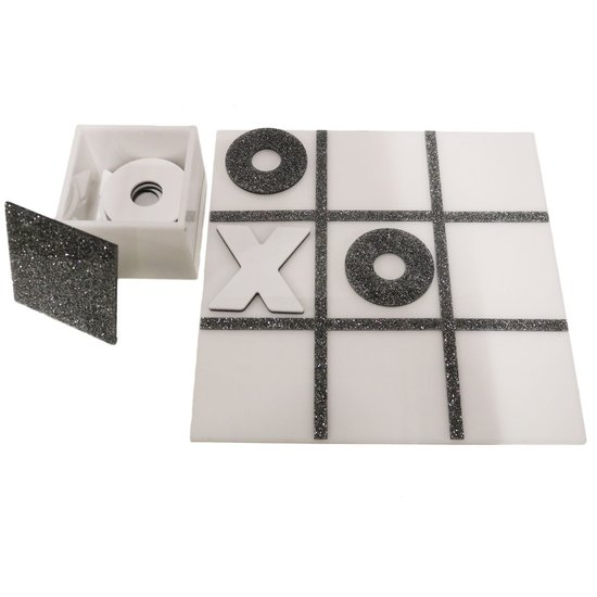 ACRYLIC TIC TAC TOE SET WITH BOX | WHITE & SILVER GLITTER