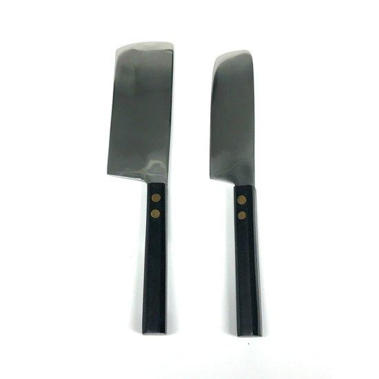 EBONIZED WOOD CHEESE KNIVES