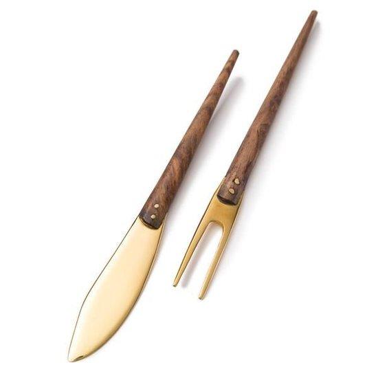 LIQUID BRASS CHEESE FORK & KNIFE