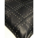 LEATHER STUDDED PILLOW | NAVY