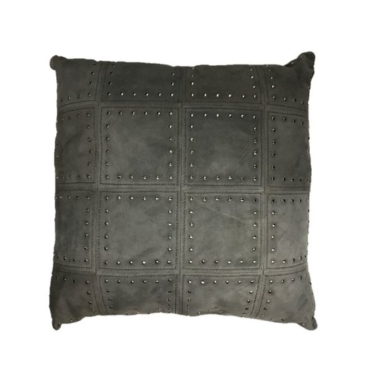 LEATHER STUDDED PILLOW | GREY