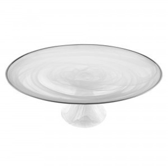 ALABASTER CAKEPLATE WITH SILVER TRIM | WHITE