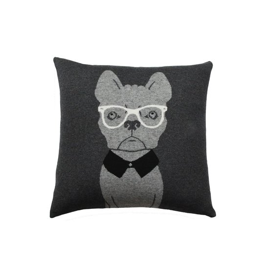 DOG WITH GLASSES CASHMERE PILLOW
