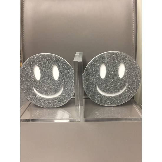 EYE CANDY SMILEY BOOKENDS - SILVER