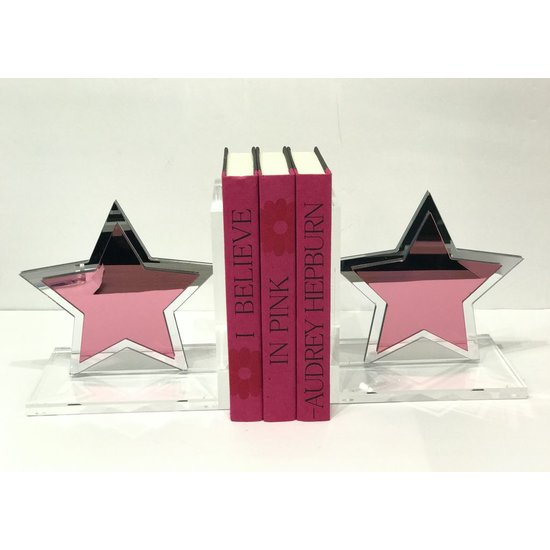EYE CANDY STAR BOOKENDS - ACRYLIC PINK MIRROR