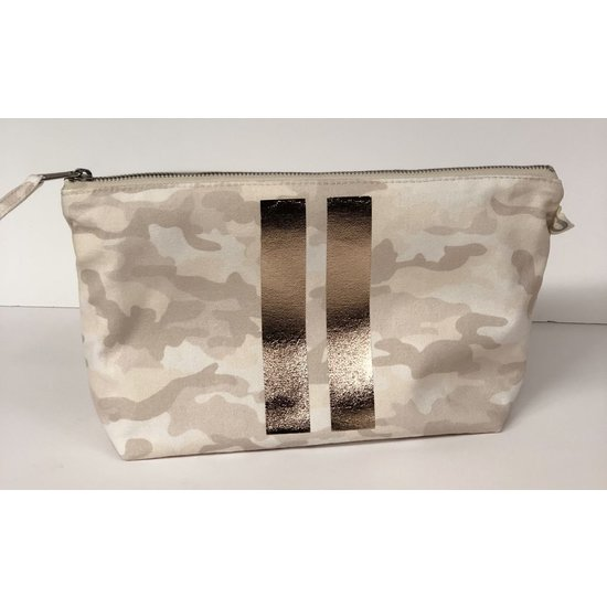 BLUSH CAMO CLUTCH BAG WITH ROSE GOLD DOUBLE STRIPES