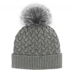 Mitchie's Mitchies Wool Knit Hat (Fox Pom) - Grey