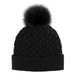 Mitchie's Mitchies Wool  Knit Hat (Fox Pom) - Black