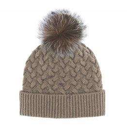 Mitchie's Mitchies Wool Knit Hat (Fox Pom) - Beige
