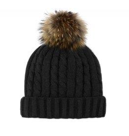 Mitchie's Mitchies Knit Hat (Raccoon Pom) - Black