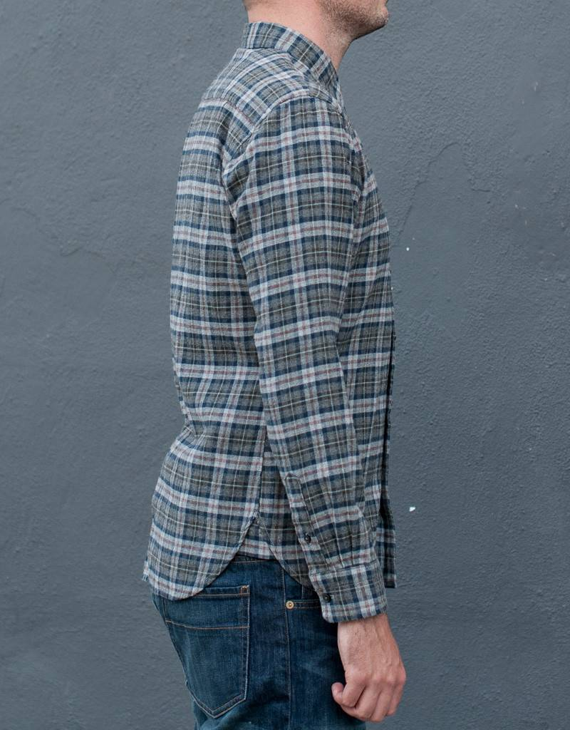Kato Slim French Seam Long Sleeve Shirt in Brushed Brown Plaid