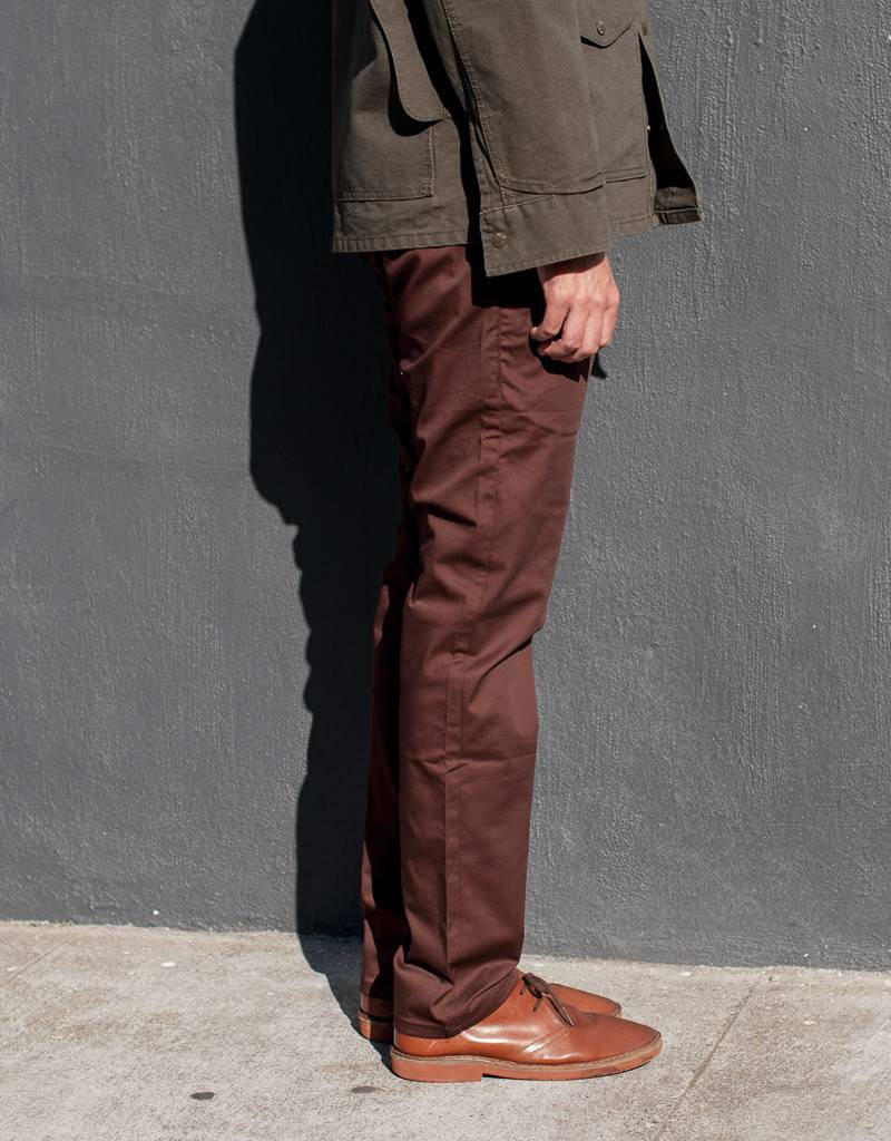 Naked and Famous Denim Slim Chino in Burgundy Stretch Twill