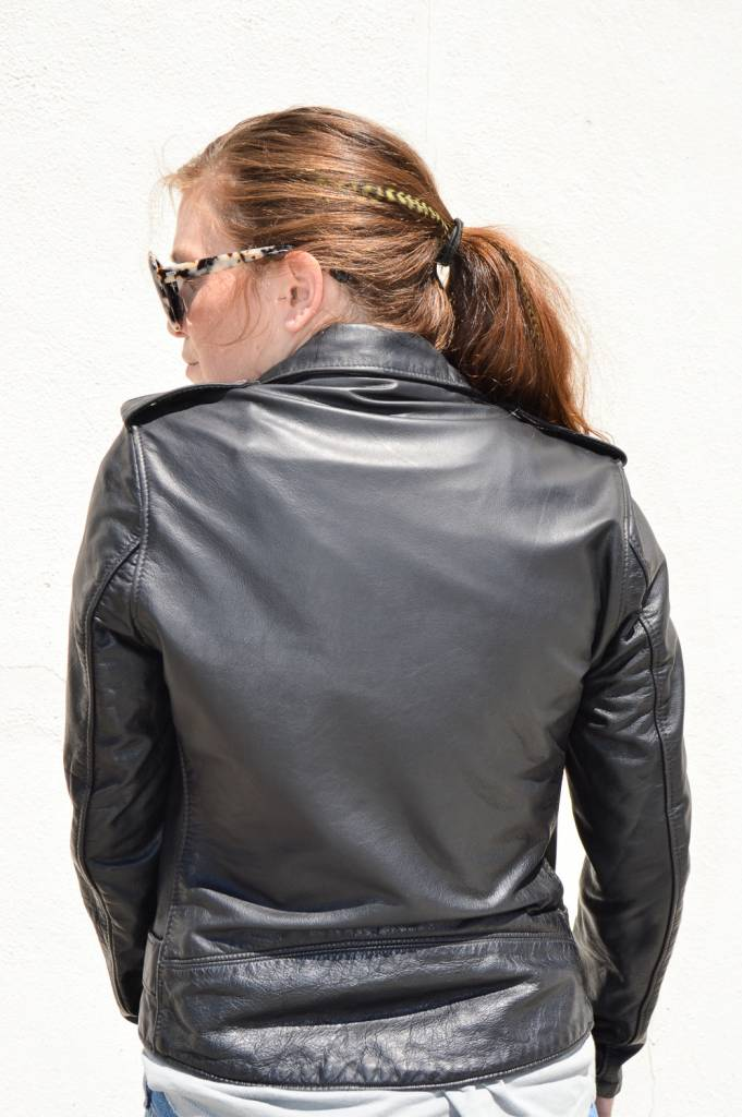 Schott NYC Women's Vintaged Boyfriend Fit Leather Motorcycle Jacket