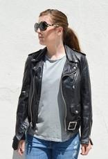 Schott NYC Women's Vintaged Boyfriend Fit Leather Motorcycle Jacket