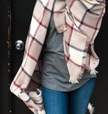 Blanket Scarf in Black/Red/White/Beige