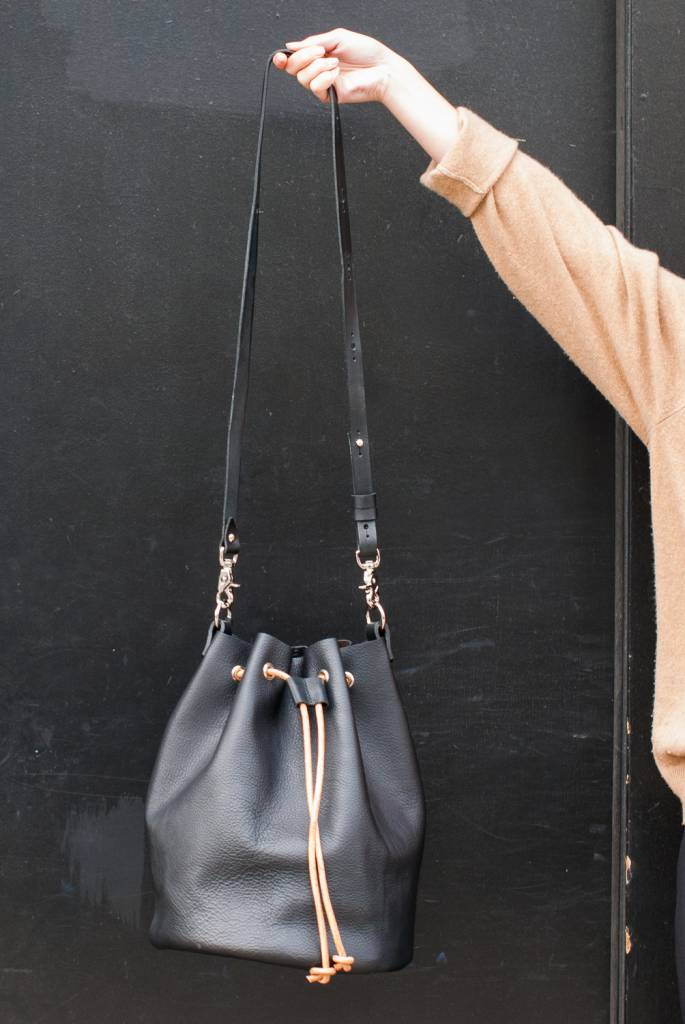 Minnie + George 3 in 1 Drawstring Leather Bag in Black/Natural